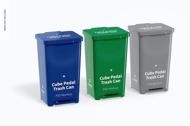 큐브 페달 쓰레기통 세트 모형
