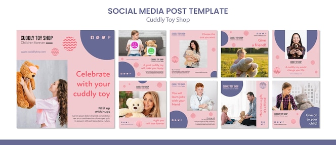 Cuddly toy shop 소셜 미디어 게시물