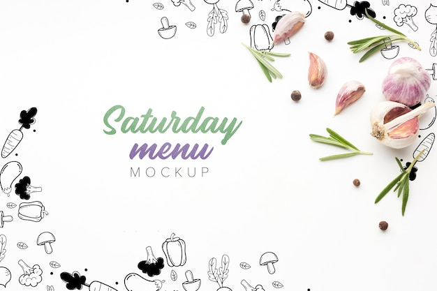 Culinary saturday menu with garlic mock-up