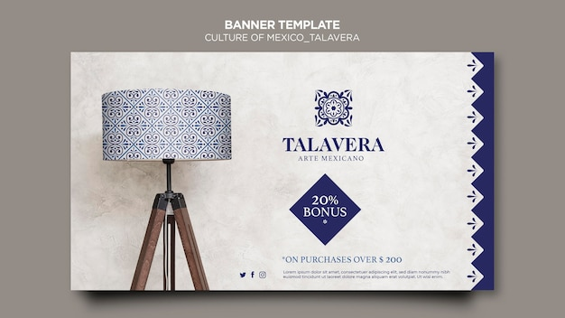 Culture of mexico talavera banner template