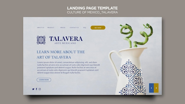 Culture of mexico talavera landing page