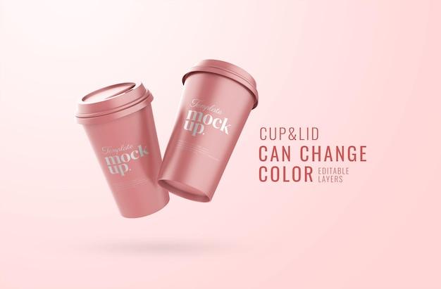 現実的なカップ広告モックアップ