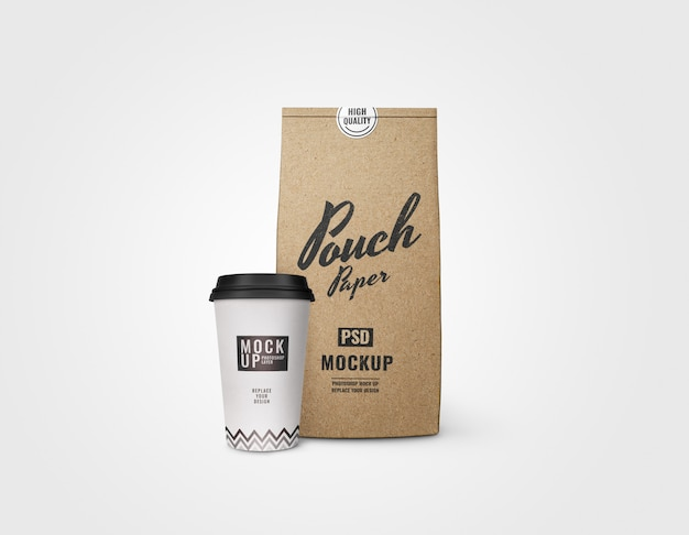 Cup of coffee and pouch bakery mockup realistic
