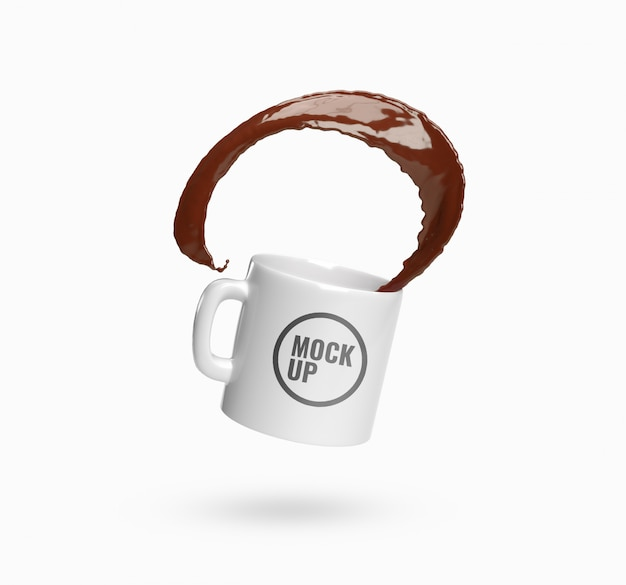Cup coffee splash mockup realistic