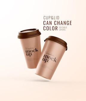 現実的なふたのモックアップとカップコーヒー