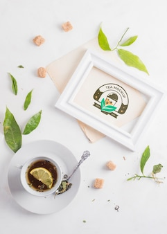 Cup of herbal tea mock-up