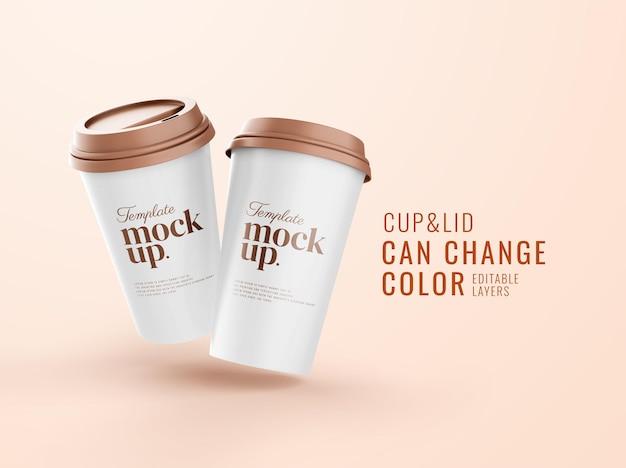 現実的なコーヒー飲料のモックアップのカップ