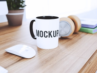 Cup on desk mock up