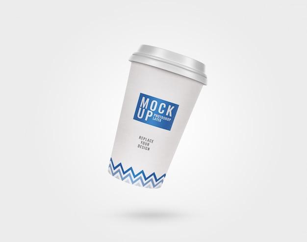 Cup paper plastic lid mockup realistic