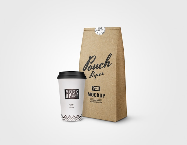 Cup and pouch of coffee mockup