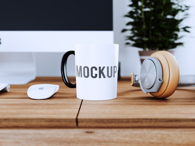 Cup on wooden desk mock up