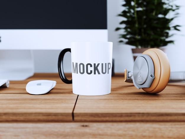 Cup on wooden desk mock up