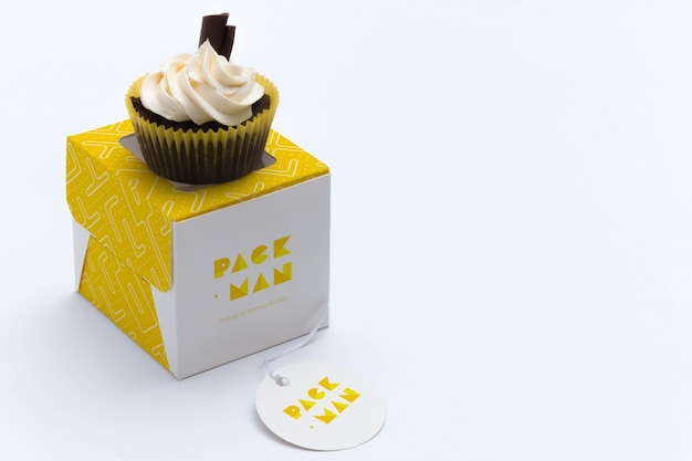 Кекс коробка макете дизайн Premium Psd
