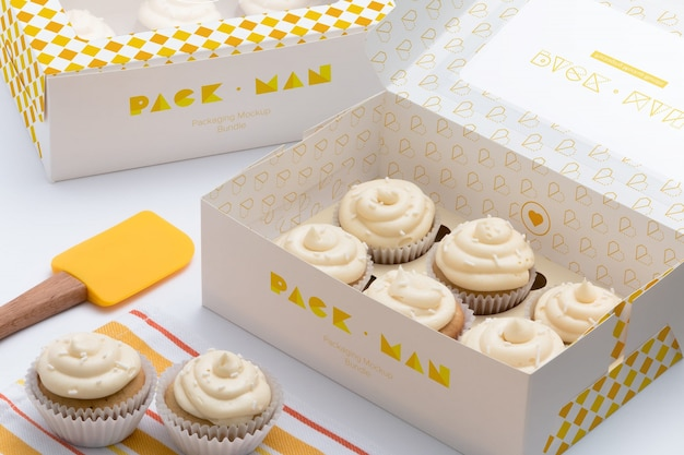 Cupcake коробки макете дизайна
