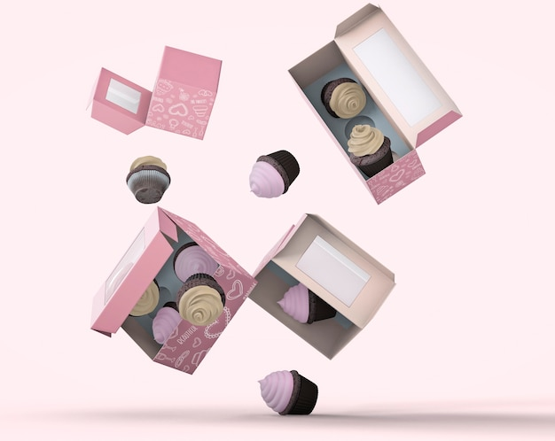 Cupcake packaging and branding mockup