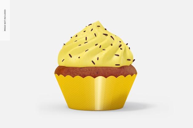 래퍼 모형이있는 컵 케이크, 전면보기