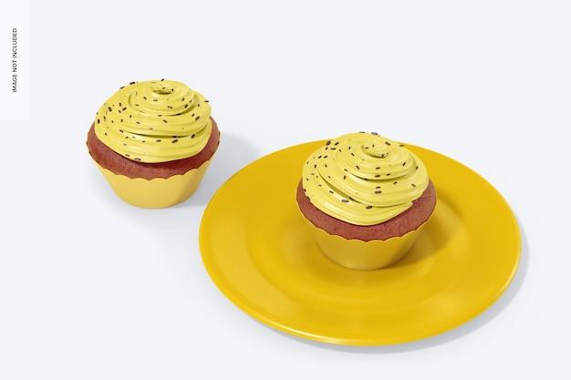 래퍼 모형이있는 컵 케이크, 평면도