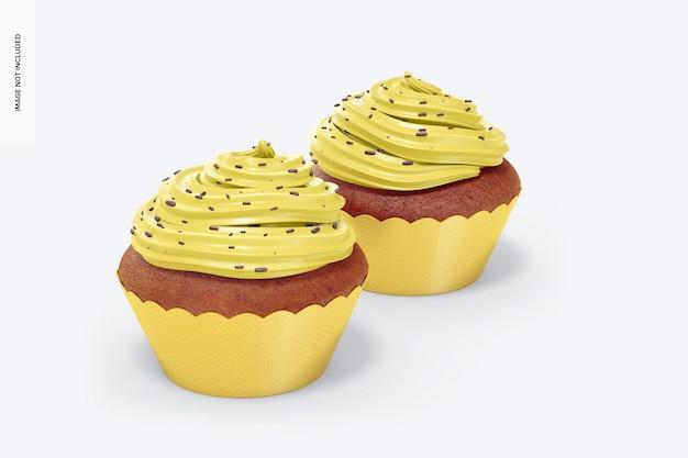 래퍼 모형이있는 컵 케이크, 왼쪽보기