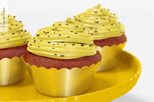 ラッパーのモックアップとカップケーキ