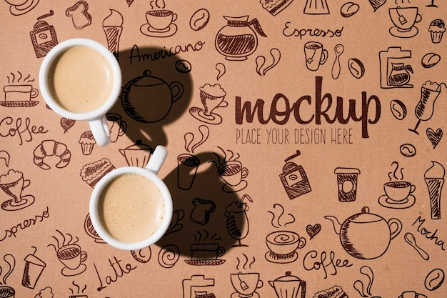 Cups of coffee with shadows mock-up