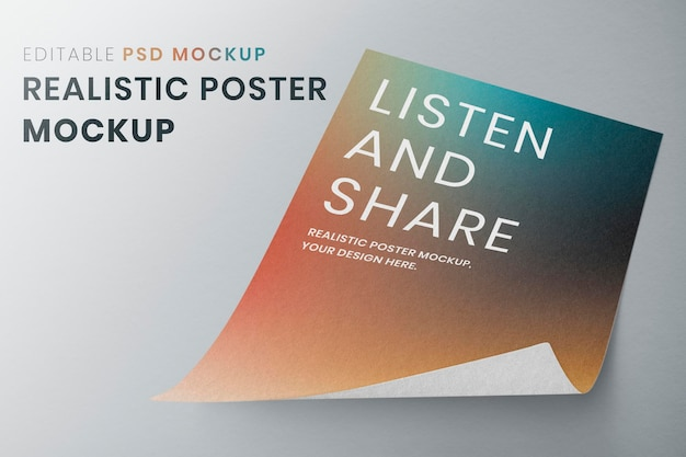 Curled poster mockup on a gray background