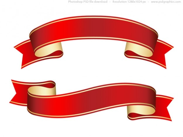Curled red ribbon (banner), psd template