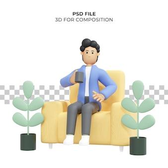 Кудрявый мужчина сидит на стуле и пьет кофе фрилансер premium 3d illustration psd Premium Psd