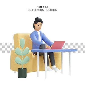 Кудрявый мужчина работает сидя на стуле с помощью ноутбука фрилансера 3d иллюстрации premium psd
