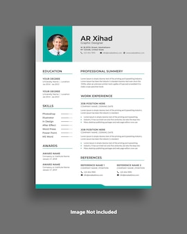 Curriculum vitae and resume template design