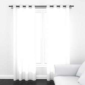 Curtains on white window