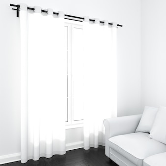Tende sulla finestra bianca