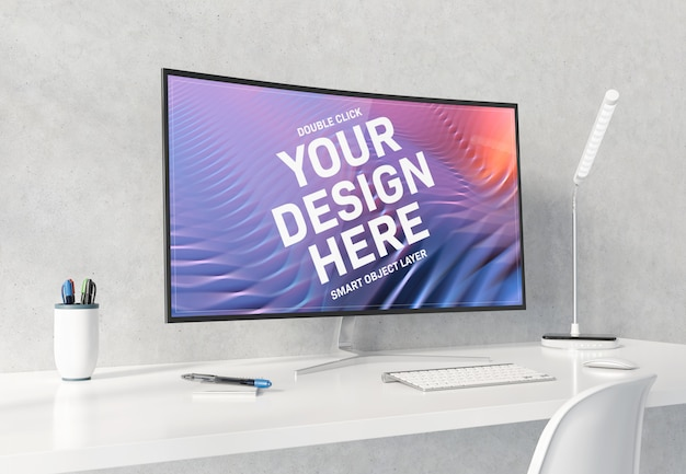 Curved monitor on white desktop mockup