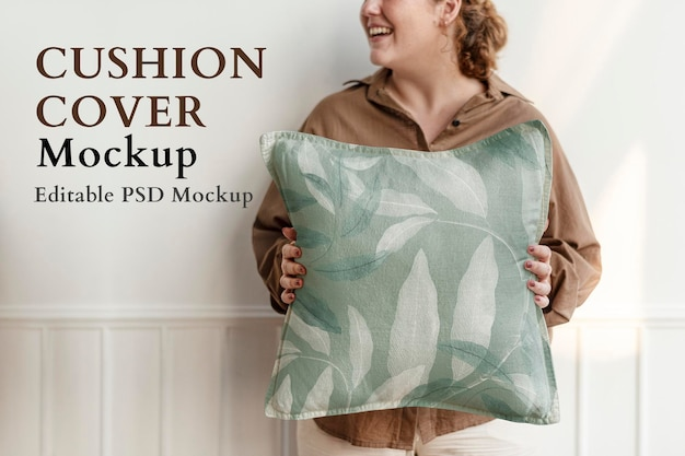 Fodera per cuscino mockup psd in interior design con motivo floreale