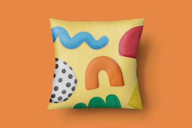 抽象的な粘土粘土パターンでクッションカバーモックアップpsd