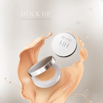 Cushion face foundation case. compact powder mockup cosmetic package.