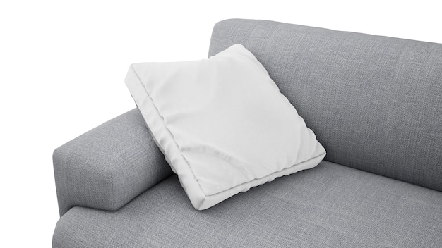 Cuscino sopra il sofà grigio isolato