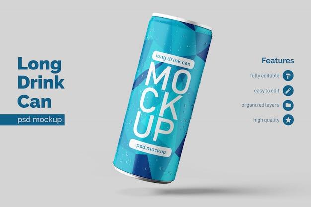 Custom premium floating right long aluminium drink can mock up design templates