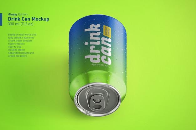 결로와 현실적인 광택 음료수 캔의 사용자 정의 프리미엄 모형 템플릿