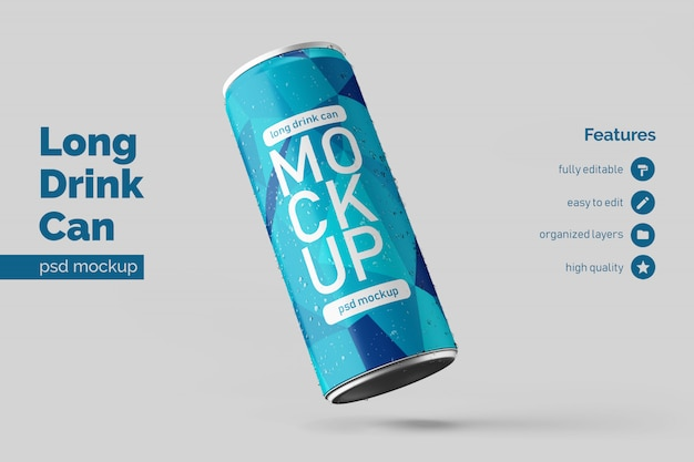 Custom realistic floating left long aluminium beverage can mock up design template