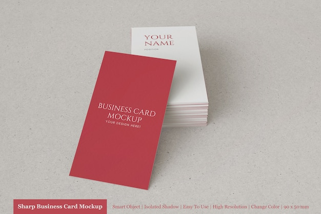 Custom vertical stacked 90x50mm textured business card mockup design template