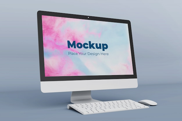 Customizable desktop screen mockup design template