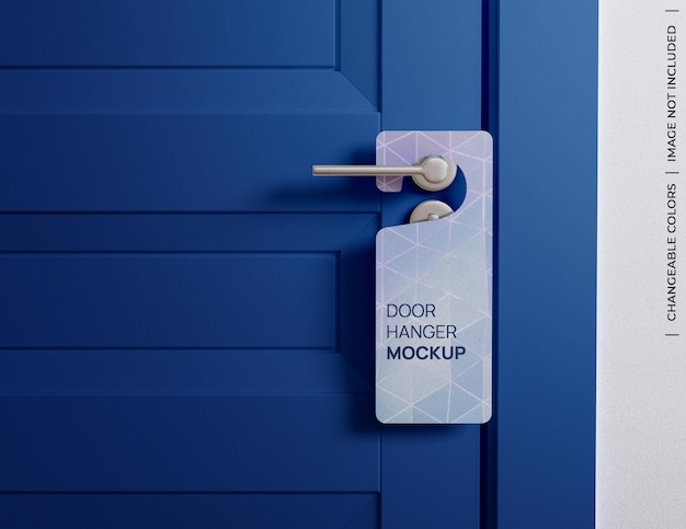 Customizable door hanger tag sign mockup isolated