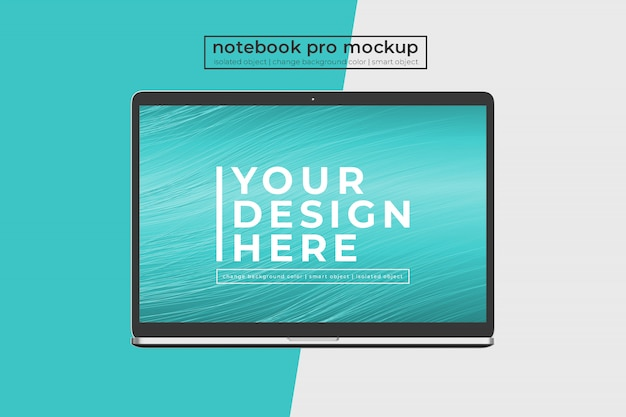 Customizable easy  15 inch notebook pro for website, ui and apps  mockup