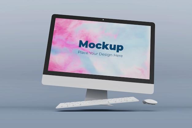 カスタマイズ可能なフローティングデスクトップ画面のモックアップデザインテンプレート