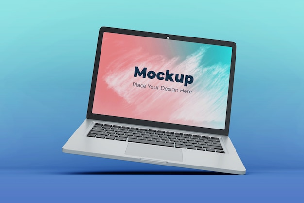 Customizable floating laptop screen mockup design template