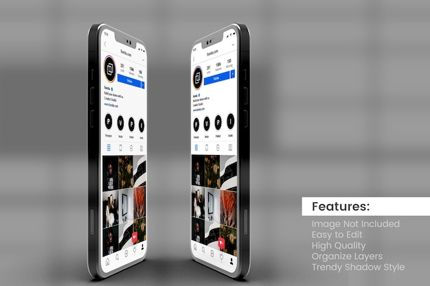 Customizable high quality two smartphone mock ups to display instagram post and story template