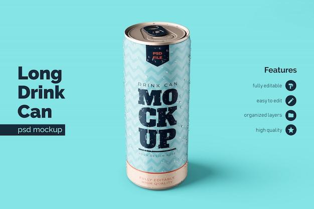 Customizable premium long aluminium metal beverage can mock up template in top front view