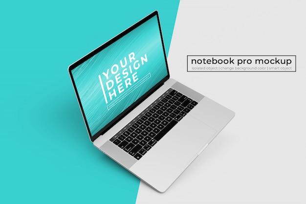 왼쪽 상단에서 왼쪽 상단에 맞춤형 프리미엄 노트북 pro psd 모형 디자인