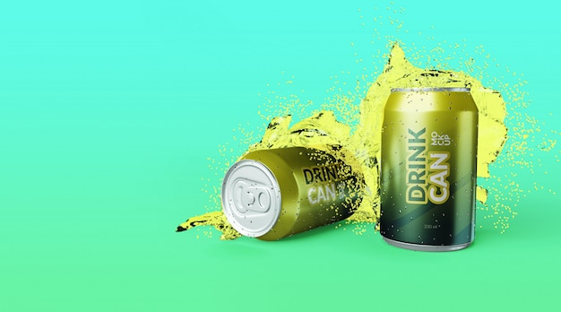 Customizable premium quality soda drink can with water splash mockups