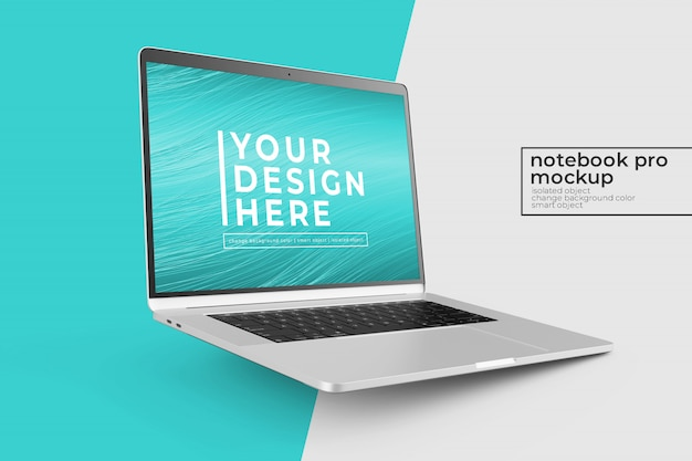 Customizable realistic mobile notebook pro mock ups design  in right rotated position in left view